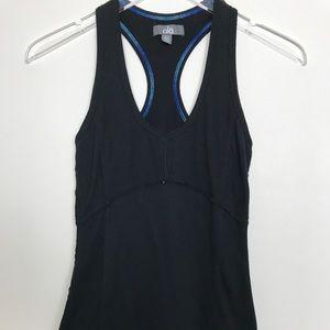 Alo Yoga Racerback Tank Black Blue Stitching Sz XS